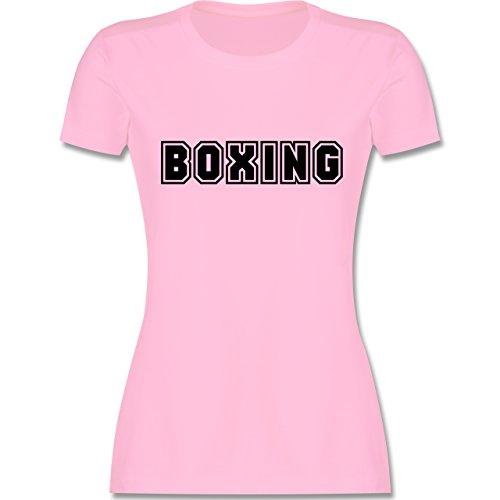 Kampfsport - Boxing Schriftzug - tailliertes Premium T-Shirt mit Rundhalsausschnitt für Damen Rosa