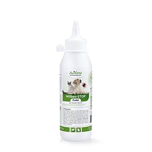 AniForte Milben Stop Puder 250 ml für Hunde, Katzen, Haus- und Hoftiere, Natürliche Abwehr von Insekten, Parasiten, Flöhen, Wanzen & Ungeziefer - Hohe und lang anhaltende Wirksamkeit, Rein biologisch