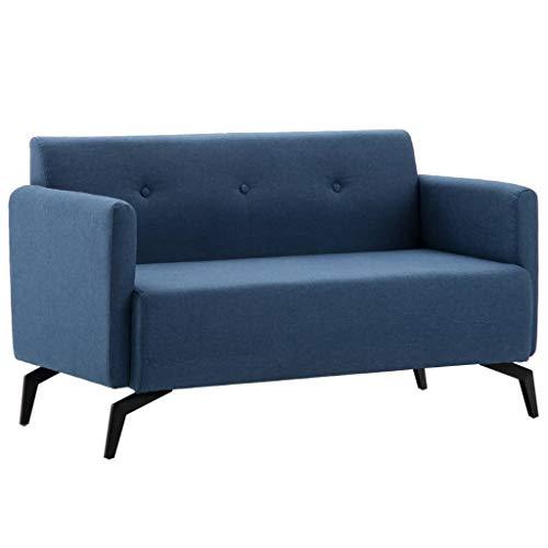 VidaXL Sofá 2 Plazas Tapizado Tela 115x60x67cm Azul