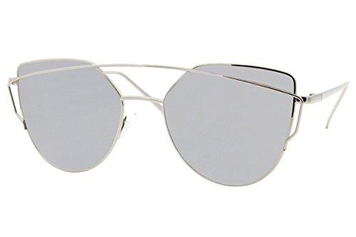 Cheapass Sonnenbrille Damen Silber Verspiegelt UV400 Designer-Brille Metall Damen Frauen
