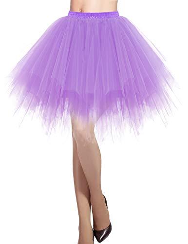 Dresstells Damen Tüllrock 50er Rockabilly Petticoat Tutu Unterrock Kurz Ballett Tanzkleid Ballkleid Abendkleid Gelegenheit Zubehör Lavender L (Winter Ballerina Kostüm)