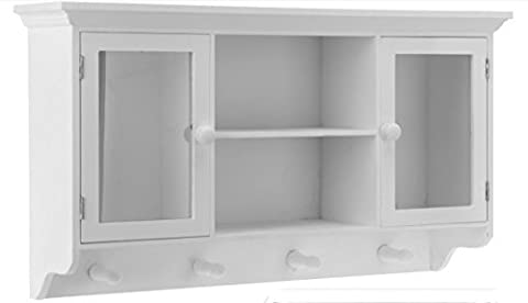 Wall-Mounted Coat Rack with 2 Glass Doors and 4 Hooks 60 x 15 x 34 CM Wall-Mounted Cupboard Wall Kitchen Hall Wardrobe Hook