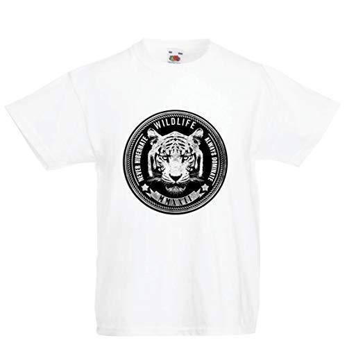 lepni.me Kinder Jungen/Mädchen T-Shirt Tierwelt - Überwintern Sie nie, dominieren Sie Immer (9-11 Years Weiß ()
