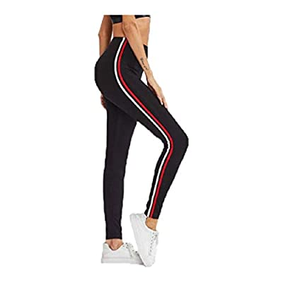Royish Women's Stripe Tights for Yoga, Gym and Active Sports Fitness (RED & White Strip, Free Size)