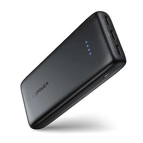 RAVPower Power Bank 22000mAh 5.8A 3 Puertos Li-Polímero Batería Externa para movil, Panasonic Inteligente IC, UL94 V-0 PC Resistente al Fuego/ABS de la aleación, para Smartphone Tablet PC (Negro)
