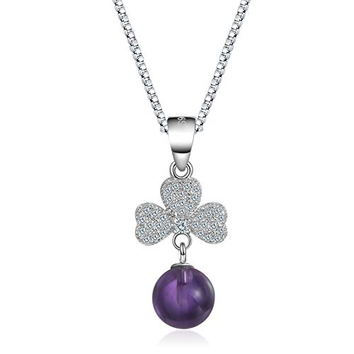 Wwf moda selvatici fortunati trifoglio maglione catena pendente femminile accessori ciondolo pendente gioielli,viola (senza ca,1.2 * 2.5 centi