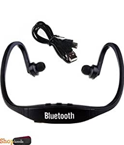 Alcatel Idol Ultra OT6033x COMPATIBLE BS19 Wireless Bluetooth On-ear Sports Headset Headphones (with Micro Sd Card Slot and FM Radio) BLACK