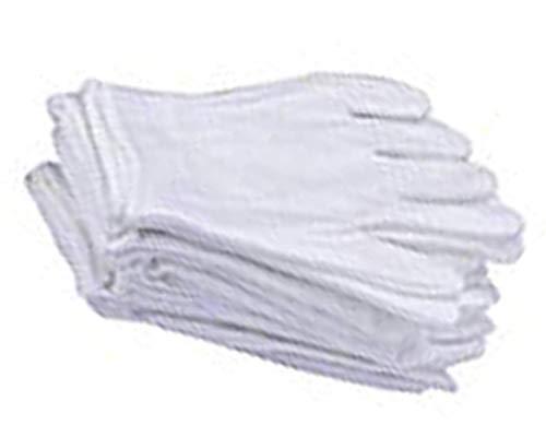Favson 6 Paar weiße weiche Handschuhe, 100% Baumwolle, Größe L, für Arbeit/Innenfutter, 6 Paar
