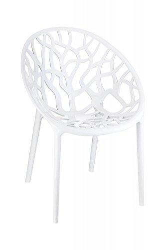 Chaise en plastique coloris blanc brillant - 80 x 59 x 60 cm -PEGANE-