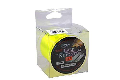 """600m \"""" NIHONTO CARP FLUO \""""gelbe monofile sehr glatte Angelschnur Karpfenschnur Feederschnur erhältlich von Ø0,23 bis Ø0,40mm (Ø0,25mm / Tragkraft 7,3kg)"""