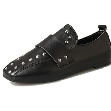 SHOESHAOGE Les Femmes&#039;S Appartements D'Été Confort Chaussures De Marche Pu Rivet Décontracté Talon Plat Noir Blanc 2In-2 3/4 Black