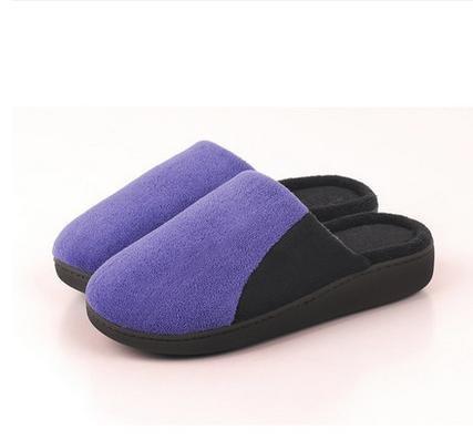 En automne et en hiver, maison pantoufles, femmes, coton, doux, confortable, chaud, insipide, peluche, semelle épaisse, anti-dérapant purple blue