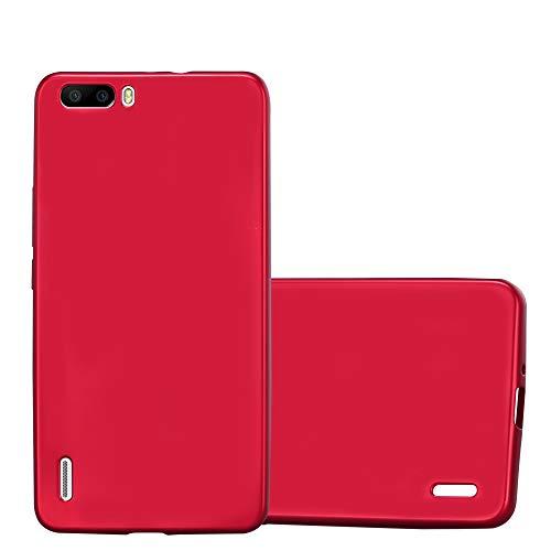 Cadorabo Hülle für Honor 6 Plus - Hülle in METALLIC ROT – Handyhülle aus TPU Silikon im Matt Metallic Design - Silikonhülle Schutzhülle Ultra Slim Soft Back Cover Case Bumper