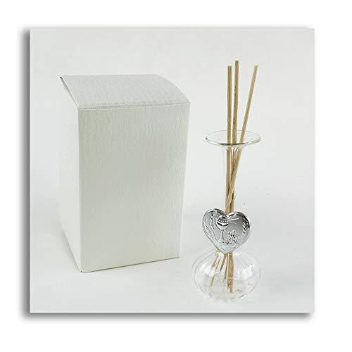 Dlm27755 diffusore profumatore con cuore per prima comunione bottiglia in vetro soffiato bomboniera