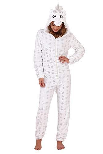 (Damen Pyjama aus weichem Fleece, Tiermotiv Gr. 48/50 DE X-Large, White Unicorn with Foil Star)