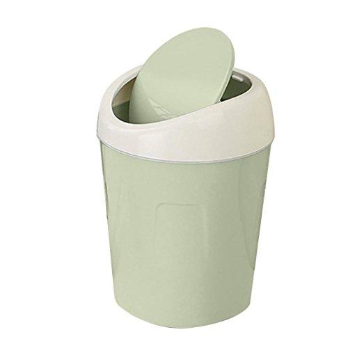 Gaddrt Mülleimer Mini Creative Covered Desktops Küche Wohnzimmer Büro Trompete Plastik Tisch Schreibtisch Mülltonne Abfalleimer mit einem Schwingdeckel (grün)