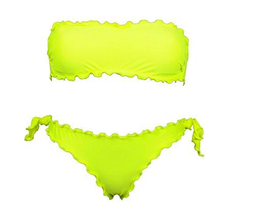 Bikinicolors Damen Bikini-Set schwarz schwarz Neongelb