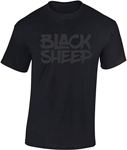 T-Shirt: Black Sheep - Schwarzes Schaf - Urban Streetwear für Männer Mann Frau-en - Hip-Hop Rap - Vintage Retro - Thug Gangster - Kampfsport MMA Fight Boxer - Nerd Gamer Gaming - Sport Fitness (M) - Vintage Hip Hop
