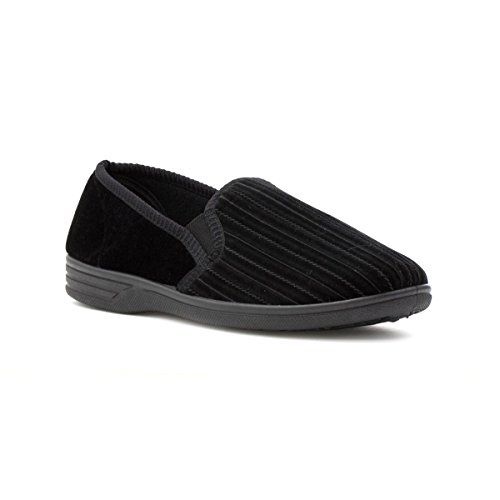 The Slipper Company - Mens Striped Black Slipper - Size 8 - Black