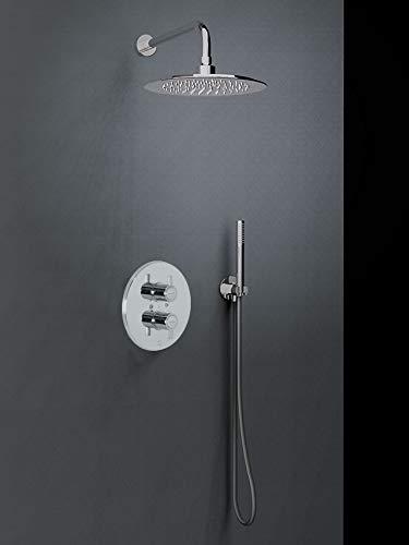 Ramón Soler K3387001 Conjunto empotrado 2 vías termostático con soporte más toma de agua, teleducha y rociador mural metálico Ø 250 mm, modelo Drako, Cromo
