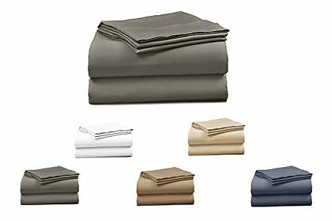 Elles Bettwäsche Kollektionen Bettwäsche 100% Baumwolle Bettlaken Set 400Fadenzahl knitterfreies Bettwäsche-Set, baumwolle, grau, King Size