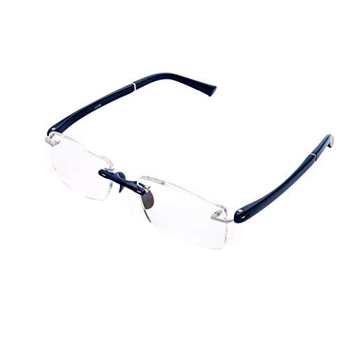 ANAI Männliche und weibliche Erwachsene Lesebrille HD Harzlinse randlose Gläser (Color : Black, Size : +1.5)