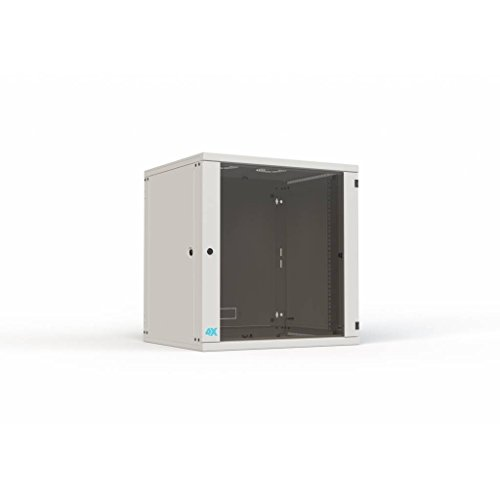 4Xracks 4CW-1266 48,26 cm (19 Zoll) Wandschrank 4X der Reihe Comfort, 12HE, Datenschrank, Breite 600 mm, Tiefe 600 mm, Belastung 30kg Grau -