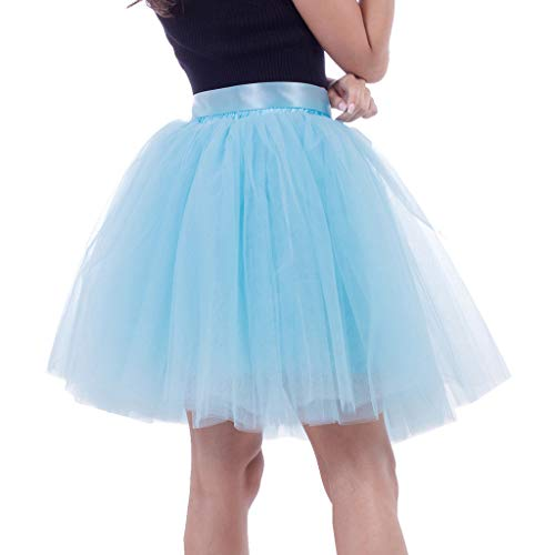CUTUDE Damen Tütü Rock Minirock 6 Lagen Petticoat Tanzkleid Dehnbaren Mini Skater Tutu Rock Erwachsene Ballettrock Tüllrock für Party Halloween Kostüme Tanzen (Himmelblau, Eine Größe)