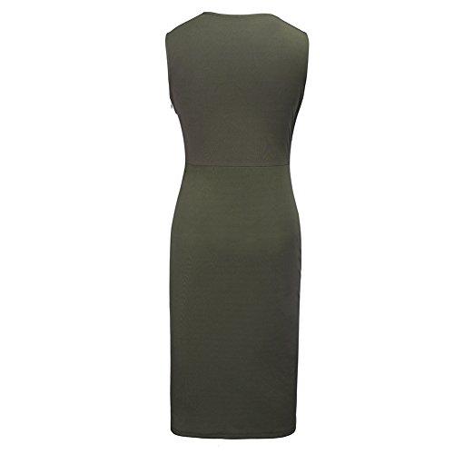 Frauen klassische Slim Fit Ärmellos runde Kragen Spleißen Stil Midi  Cocktail Party Dress Grün