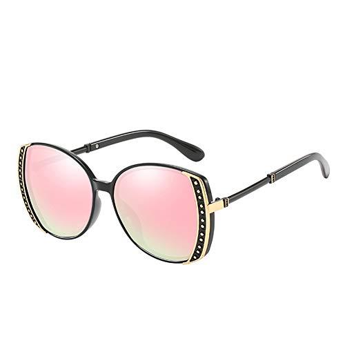 HQMGLASSES Frauen Sonnenbrillen Designerin-Sparkling Rhinestone Verschönerung Frame Shades Sun Brillen für Driving/Traveling, UV 400,BlackFrame/PinkLens