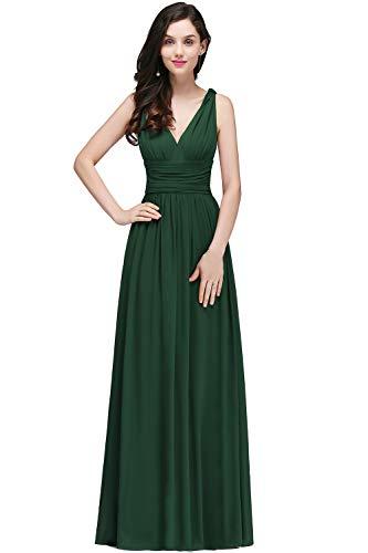 Damen Elegant Brautmutterkleid Chiffon-Maxikleid Rückenfrei lang dunkel Grün 42