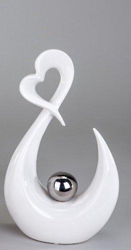 Keramikskulptur Herz mit Kugel H27cm Weiß/Silber (Kugeln Herz)