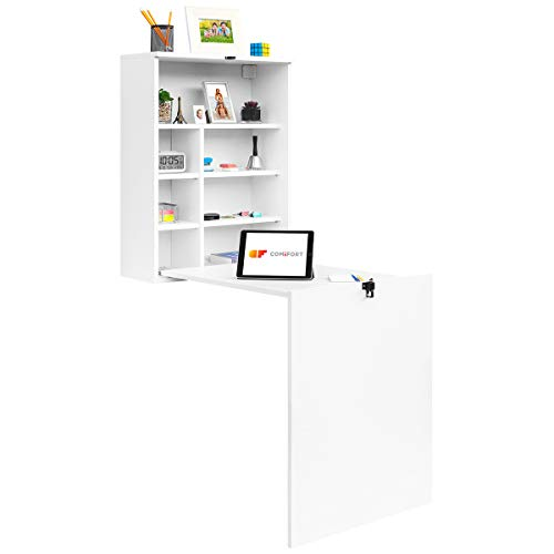 COMIFORT TC82B - Escritorio de Pared Plegable, Mesa Abatible Colgante de Pie Convertidor, Color Blanco o Roble (Blanco)