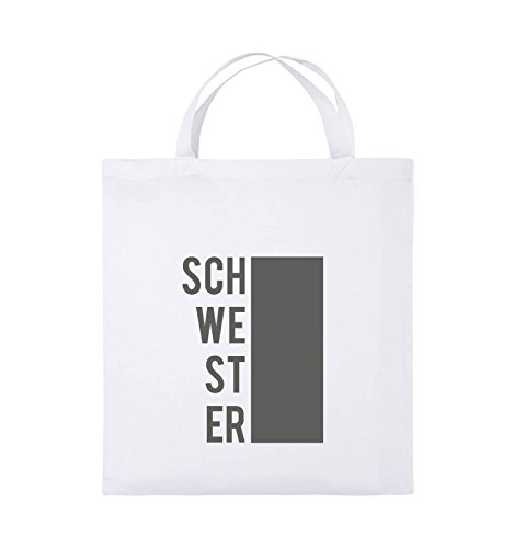 Comedy Bags - SCHWESTER - BLOCK - Jutebeutel - kurze Henkel - 38x42cm - Farbe: Schwarz / Silber Weiss / Grau