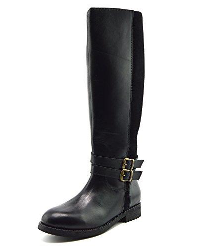 Kick Footwear Damen Leder Kniehohe Reiterstiefel Elastisches Weites Kalb Größe Flache Stiefel - UK 7/EU 40, Schwarz (Wohnungen Schuhe Schwarz Damen Leder)