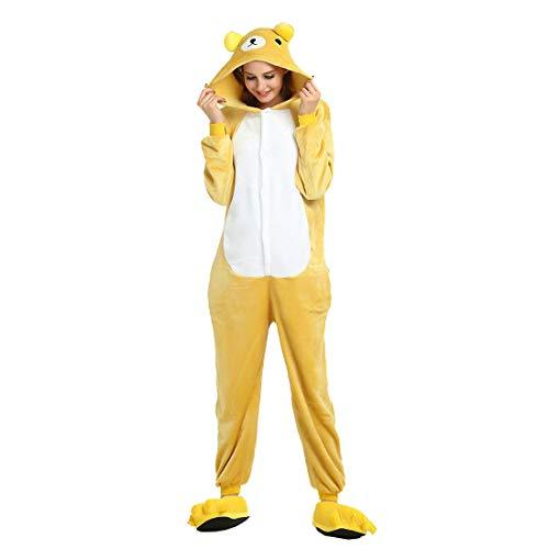 HOOLAZA Unisex Flanell Hoodie Tier Pyjama Rilakkuma Cartoon Pyjamas Onesies Overall Nachtwäsche Erwachsene Nachtwäsche Kigurumi Cosplay Kostüm