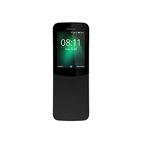 Nokia 8110 (2,45 Zoll QVGA Display, 4G, 2MP Kamera mit LED Blitz, MP3 Player, FM Radio, Weckfunktion, spritzwassergeschützt (IP52), Bluetooth 4.1) schwarz