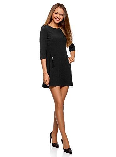 ... oodji Ultra Damen Kleid aus Festem Stoff mit Kunstlederbesatz Schwarz ( 2900N) ...