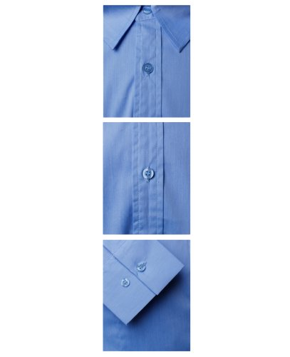 HRYfashion -  Camicia da cerimonia  - Basic - Con bottoni  - Maniche lunghe  - Uomo LightBlue