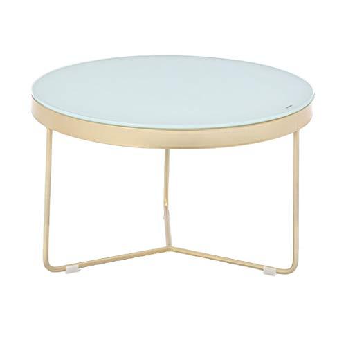 HBWJSH Table Basse en Verre trempé Simple Moderne Petit Appartement Salon Simple Table Basse Combinaison créative Ronde en Fer forgé Petite Table Basse (Couleur : Bleu)