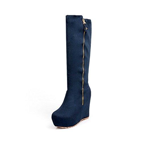 AllhqFashion Damen Hoher Absatz Rein Rund Zehe Reißverschluss Stiefel mit Metallisch Blau