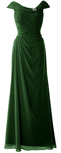MACloth Women Cap Sleeves Boat Neck Formal Gown Long Mother of the Bride Dress Dark Green