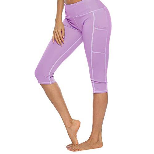 QIMANZI Figurformende Sport Leggins Damen 3/4 Capri Yoga Leggings Mit Tasche Yogahose Sporthose(Lila,XL) -