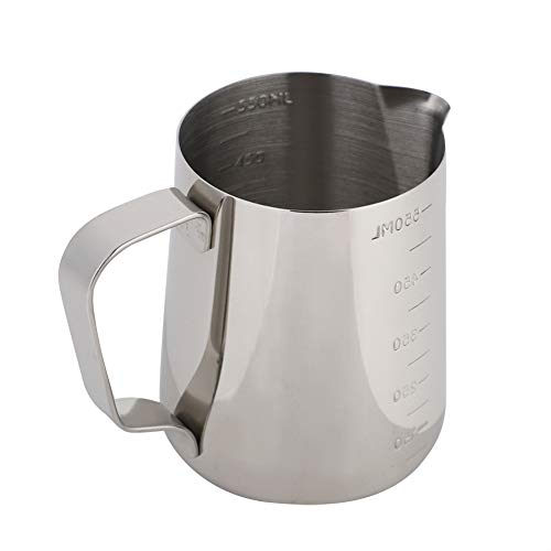 Espresso Dampfende Milch (Fditt Edelstahl Milch Aufschäumen Pitcher Messbecher Kaffeekanne Milch Aufschäumen Pot Espresso Latte Pitcher MEHRWEG VERPACKUNG socialme-EU(9.2 * 7.7 * 10.9cm))