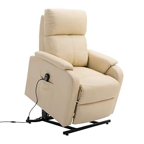 CARO-Möbel Relaxsessel Senior Fernsehsessel Ruhe TV Sessel mit elektrischer Aufstehfunktion, verstellbare Rückenlehne und Fußteil beige Hellbraun