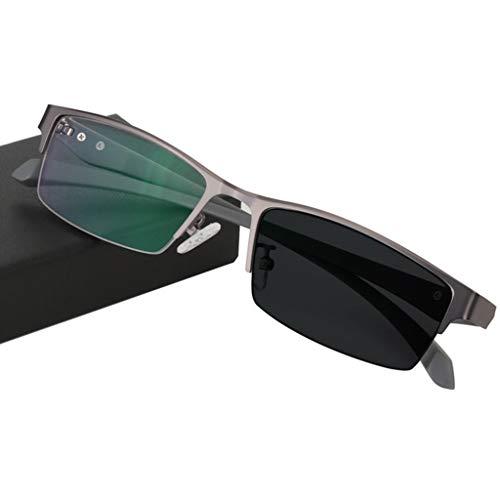 ZY Reading Glasses Doppelfokus-Lesebrille, intelligente Übergangs-Photochromic-Progressive-Sonnenbrille, Federgelenke aus rostfreiem Edelstahl, Sonnenlesegeräte für Herren/Damen