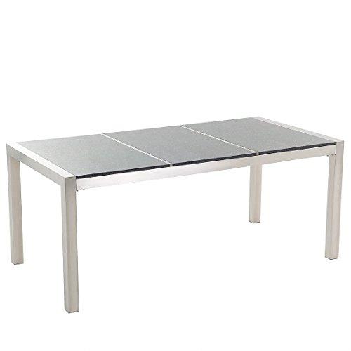 Beliani Table de Jardin en Plateau Granit Gris Poli 180 cm GROSSETO