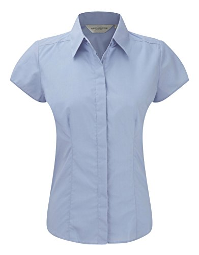 Womens 3/4 Sleeve Poplin Shirt (Russell Collection Damen Bluse Gr. Medium, Blau - Corporate Blue)
