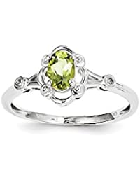 Geburtsstein Sterling Diamant Peridot August Silber Ring &