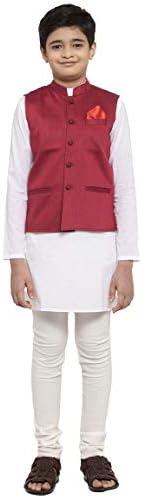 NEUDIS by Dhrohar Dupion Silk Nehru Jacket & Cotton Long KurtaWith Churi Pajama Set For Boys - Maroon &am
